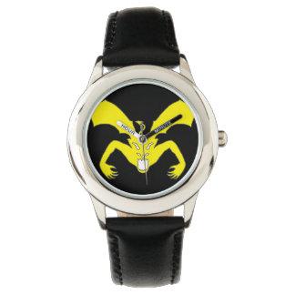 Diablo amarillo reloj de mano