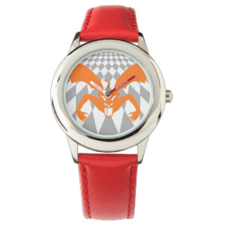 Diablo anaranjado relojes de pulsera