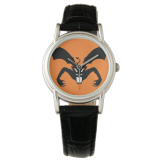 Diablo anaranjado y negro reloj de mano