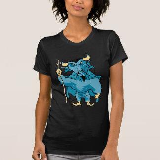 Diablo azul del dibujo animado camiseta
