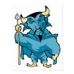 Diablo azul del dibujo animado postal