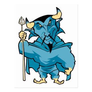 Diablo azul del dibujo animado postales