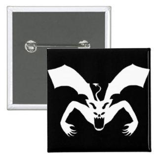 Diablo blanco y negro pin cuadrada 5 cm