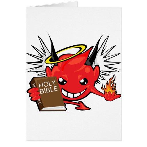 diablo/cara del smiley del ángel tarjeta de felicitación