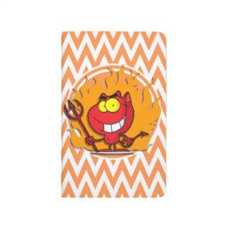 Diablo; Chevron anaranjado y blanco Cuaderno