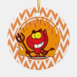 Diablo; Chevron anaranjado y blanco Ornamentos De Reyes Magos