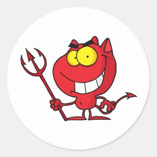 Diablo de Halloween del dibujo animado Pegatinas Redondas