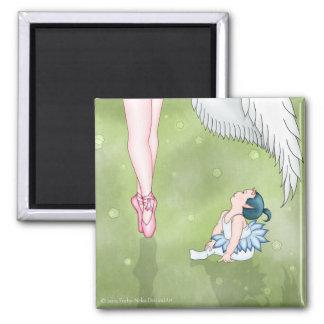Diablo de la aspiración y bailarina del ángel imán cuadrado