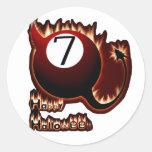 Diablo de la bola del feliz Halloween 7 Pegatinas Redondas
