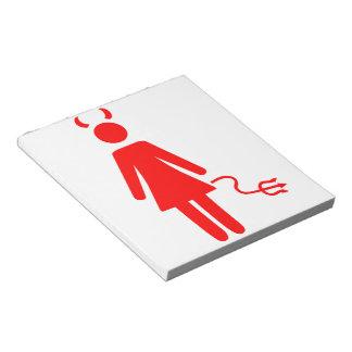 Diablo de la mujer del palillo blocs de papel