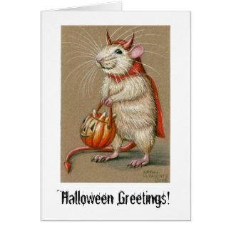 ¡Diablo de la rata saludos de Halloween Tarjeta