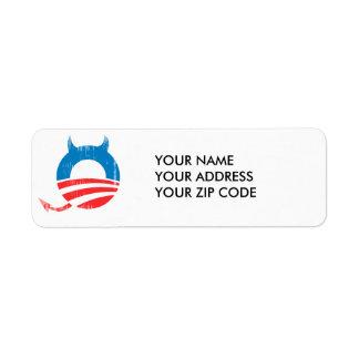 Diablo de Obama Etiqueta De Remite