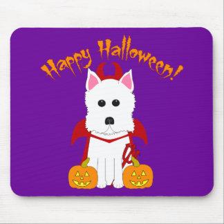 Diablo de Westie del feliz Halloween Tapetes De Raton