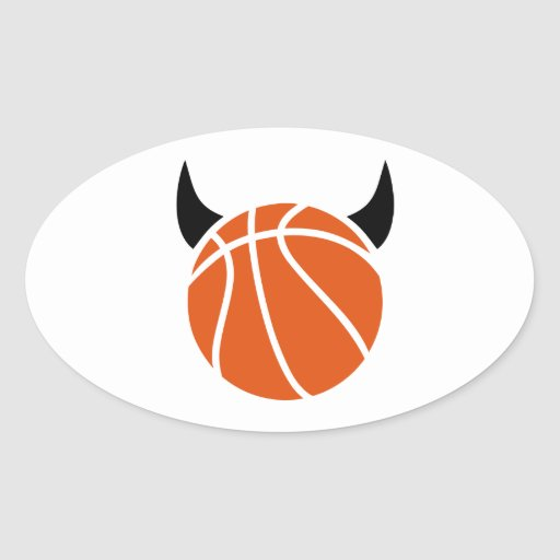 Diablo del baloncesto pegatina ovalada