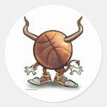 Diablo del baloncesto pegatina redonda