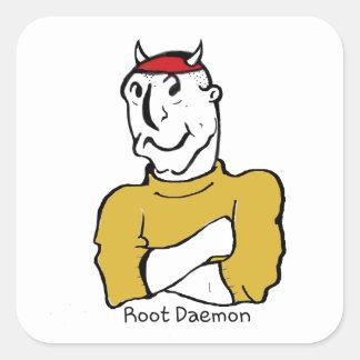 Diablo del demonio de la raíz pegatina cuadrada