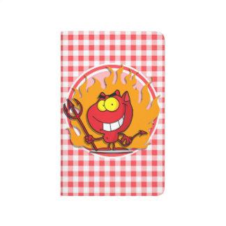Diablo del dibujo animado; Guinga roja y blanca Cuadernos