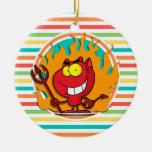 Diablo del dibujo animado, rayas brillantes del ornamento de navidad