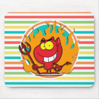 Diablo del dibujo animado, rayas brillantes del mouse pads