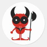 Diablo del guarda pegatina redonda