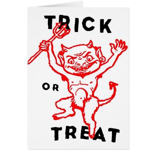 Diablo del kitsch retro del vintage de Halloween p Tarjetón