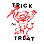 Diablo del kitsch retro del vintage de Halloween p Tarjeta Postal