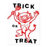 Diablo del kitsch retro del vintage de Halloween Postal