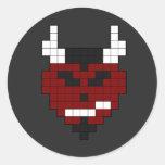 diablo del pixel pegatina redonda