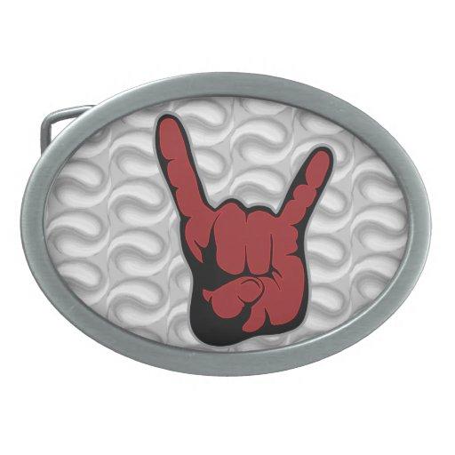 Diablo del rock-and-roll hebillas de cinturon ovales