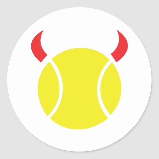 diablo del tenis pegatina redonda
