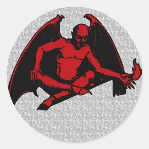 Diablo del vintage etiqueta redonda