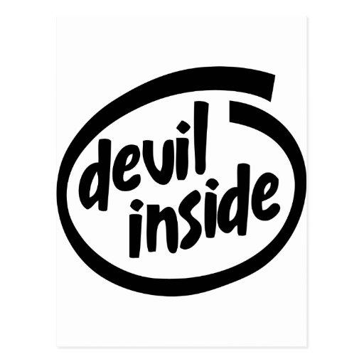 Diablo dentro tarjeta postal