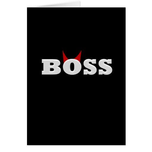 Diablo divertido Boss con los cuernos Tarjeta De Felicitación