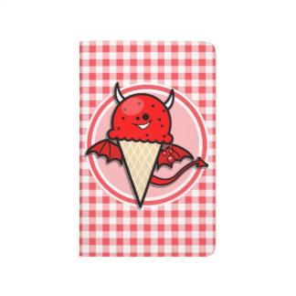 Diablo divertido del helado; Guinga roja y blanca Cuadernos