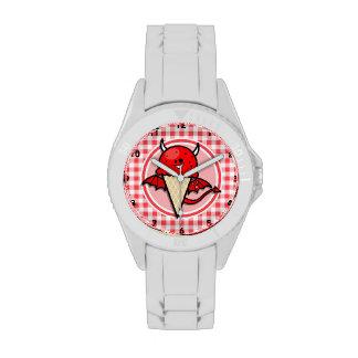 Diablo divertido del helado; Guinga roja y blanca Reloj De Mano