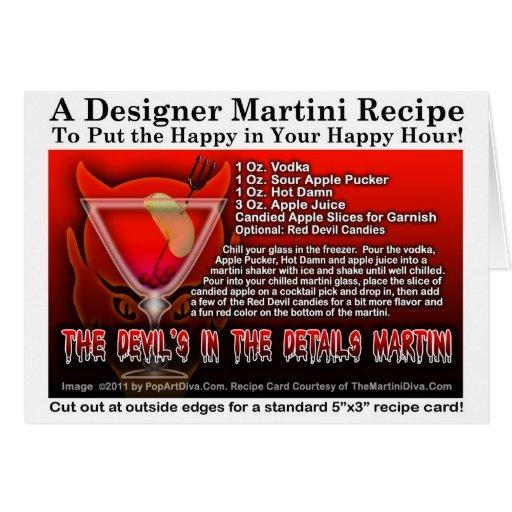 Diablo en la tarjeta de Halloween Martini de los d