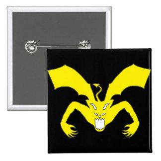 Diablo negro y amarillo pin cuadrada 5 cm