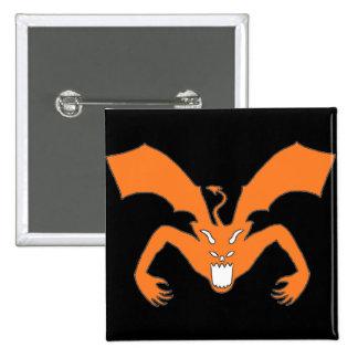 Diablo negro y anaranjado pin cuadrada 5 cm
