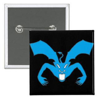 Diablo negro y azul pin cuadrada 5 cm