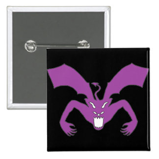 Diablo negro y púrpura pin cuadrada 5 cm