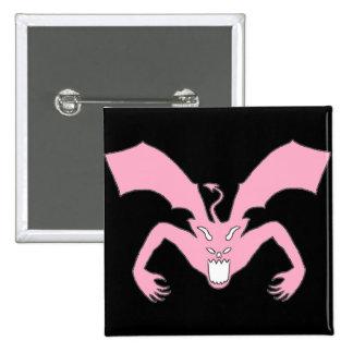 Diablo negro y rosado pin cuadrada 5 cm