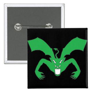 Diablo negro y verde pin cuadrada 5 cm