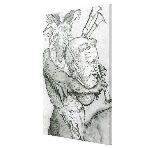 Diablo que juega la cabeza como saxofón, 1144 del  impresión en lona estirada