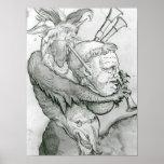 Diablo que juega la cabeza como saxofón, 1144 del  posters