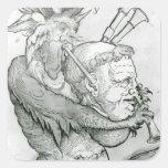 Diablo que juega la cabeza como saxofón, 1144 del calcomanías cuadradass
