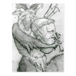 Diablo que juega la cabeza como saxofón, 1144 del  tarjetas postales