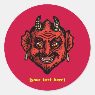 Diablo rojo de Fanged con los cuernos Pegatina Redonda