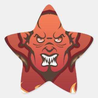 Diablo rojo del vector del demonio pegatina en forma de estrella