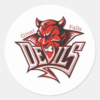 Diablo rojo pegatina redonda
