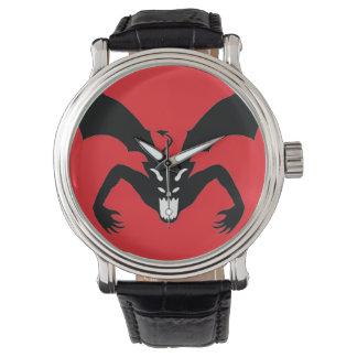 Diablo rojo y negro reloj